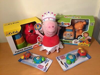 Bundle -,6PC Nesting Cups Stacking Rattles, Peppy Pig, Cars Toddler Baby Toys