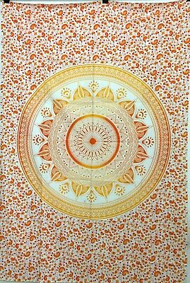 Ombre Mandala Wall Hanging Indian Orange Twin Tapestry Bedding Cotton Bedspread