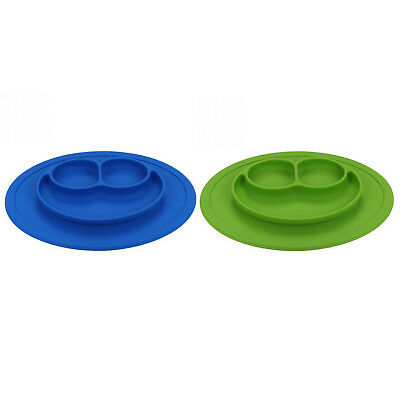 5X(New Infants Ellipse Silicone Feeding Food Plate Tray Dishes Food Holder K1L7