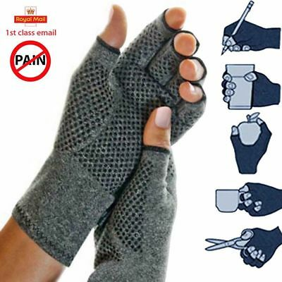 Half Finger Compression Arthritis Gloves Carpal Tunnel Joint Pain Relief BU