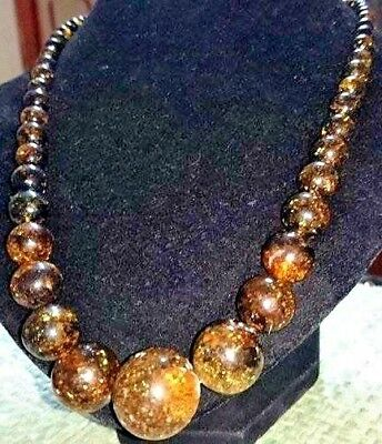 Genuine Antique Natural Baltic Amber Necklace 34 grams, ancient amber Rare Color