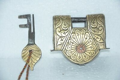 Old Iron Handcrafted Inlay Engraved Brass Fitted Solid Heavy Padlock