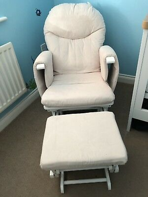 Cream Gliding Glider Reclining Nursing Chair And Footstool