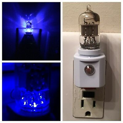 6AK5 Blue Vacuum Tube LED NIGHT LIGHT Ham Radio TV Guitar Amplifier Steampunk