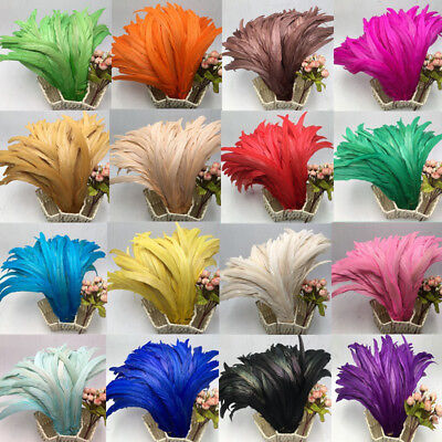 Hot,10-100 pcs beautiful natural rooster tail feathers 10-16 inches / 25-40cm