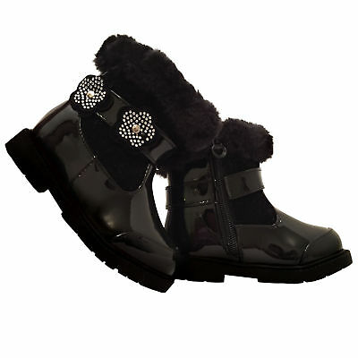 Infant Girls Party Black Patent Ankle Winter Fur Zip Up Boots,Size 3-8 Kaka7