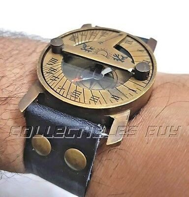 Antique Black Wrist Band Sundial Compass Steampunk Vintage Maritime Navy Device