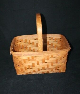 19th Century Rectangular Woven Wood Basket with Fixed Handle