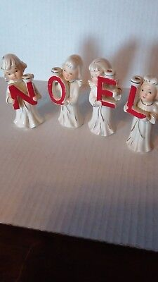 Vintage Heavenly NOEL Angels Christmas Figures  JAPAN 3.5""