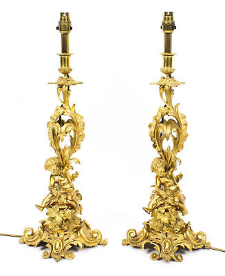 Antique Pair French Ormolu Cherub Candelabra Table Lamps C1870