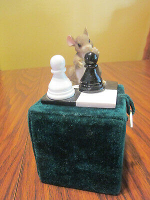 """Charming Tails """"It's Your Move"""" 89/704 Mouse Playing Chess Pawns Fitz & Floyd"""