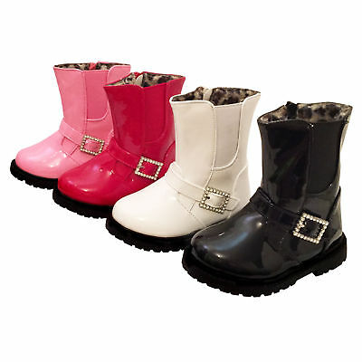 Infant Girls Party Patent Ankle Winter Zip Up Pixi Chelsea Boots,Sizes 3-7 Kaka8
