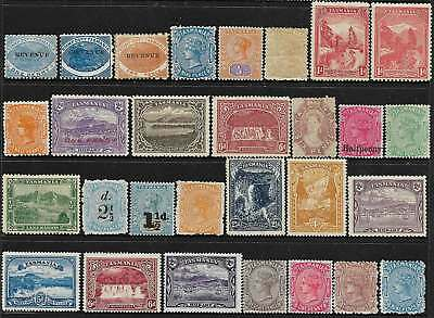 Tasmania: Quality Range 29 Different Old Stamps Valuable Group Mint, No Reserve