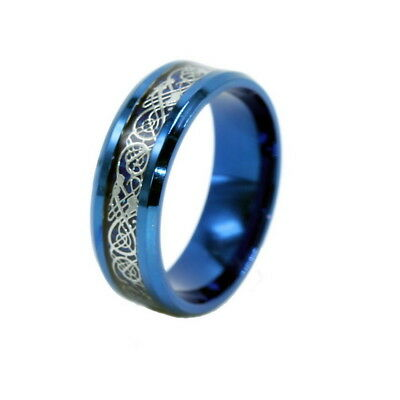 Celt Dragon Band Ring Women Men Stainless Steel Silver Blue Wedding Size 10