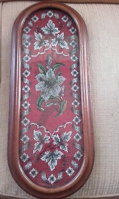 Victorian Antique Handmade Tapestry Bead work Lily Flowers Wooden Glass topped