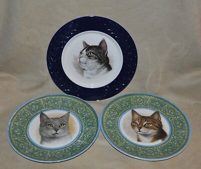 Lot of 3 Vintage Cat Decorative Dinner Plates Royal China Ironstone Tabby Grey