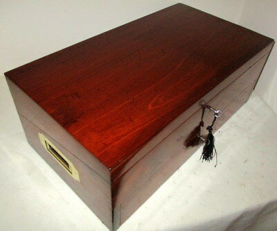 STUNNING VICTORIAN CAMPAIGN MAHOGANY & BRASS WRITING SLOPE,front drawer,2 keys