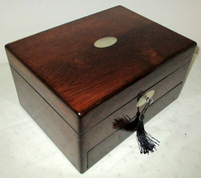 BEAUTIFUL VICTORIAN ROSEWOOD & MOP BOX with a writing slope in the drawer & key