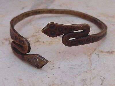 Antique Rare Bronze Ancient Greek Spiral Bronze Handcrafted Snake Bracelet
