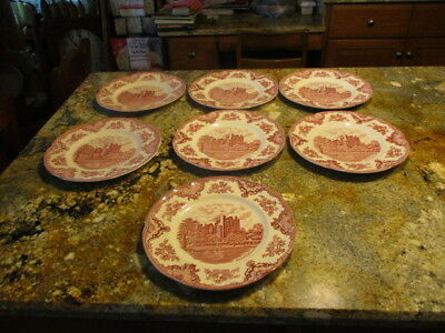 """7 Johnson Brothers """"Old Britain Castles"""" 10"""" Dinner Plate - Pink Blarney Castle"""