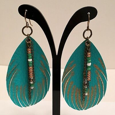 "Large Turquoise Faux Leather Feather Gold Chain Bead Accent Long 3 1/4"" Earrings"