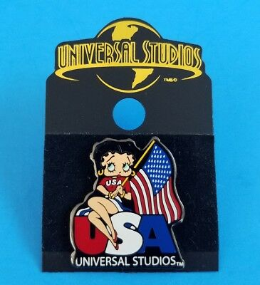 Universal Studios Betty Boop USA American Flag Trade Pin On Card