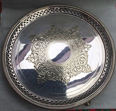 Lovely footed silver plated salver by Hawksworth Eyre & Co circa 1892
