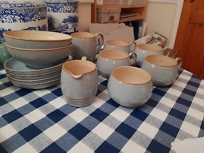 Denby Grey selection of cups, plates bowls and jugs