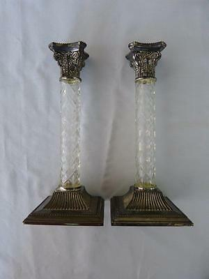 """Pair of GODINGER Silverplate & Crystal Ornate Candle Holders, Heavy & Quality,8"""""""
