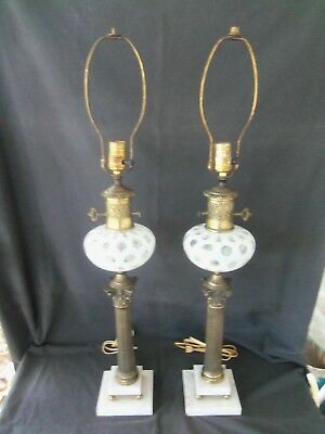 Vintage pair of large, ornate white opalescent coin dot table lamps, marble base