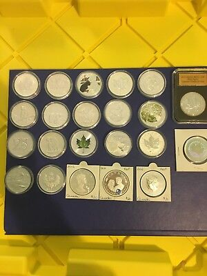 Canada Coin Silver Maple Leaf . 22 Coins Pure Silver . Collection Lot