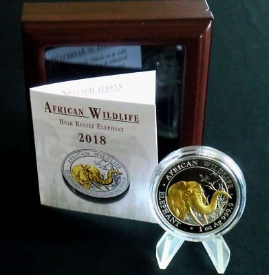 Somalia 2018 Elefant 100S. High Relief 1 Oz Silber vergoldet gilded PP / proof