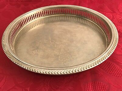 "Silver-Coloured Serving Drinks Tray Man Cave Bar 28cm (11"") Diameter Patterned"