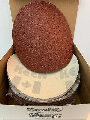 "Box of 50- 150 Grit 6"" Hook & Loop Sandpaper KEEN Abrasives 32538"