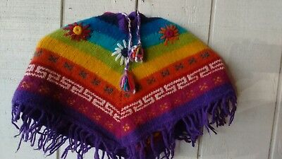 childs hand knit mexican motif poncho