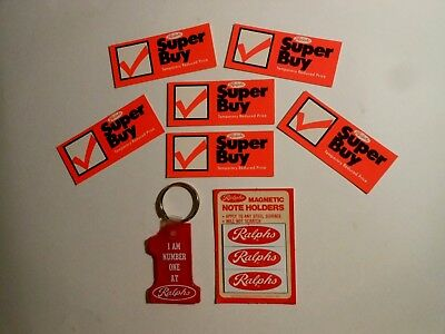 (8) Vtg Grocery / (6) Ralphs Shelf Talkers (1) Keychain & (1) Pack Of 3 Magnets