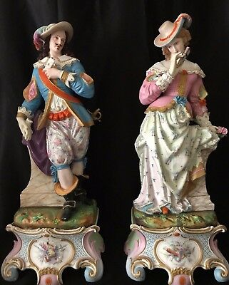 Antique French Limoges Old Haviland Pair Of Bisque Figurines Of Lovers Very Rare