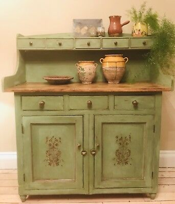 Large French Country Vintage Painted Pine Kitchen Dresser / Cupboard