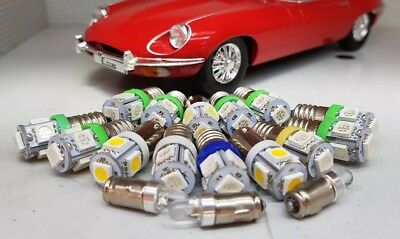 Jaguar E Type LED Green Instrument Dash Panel Bulb Set Kit E10 BA7s BA9s
