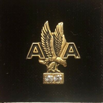 American Airlines Service Award Pin With 2 Diamonds In original Case