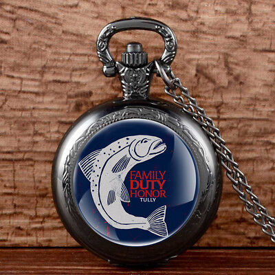 Vintage Pocket Watch Game Of Thrones House Tully Antique Quartz Necklace Chain