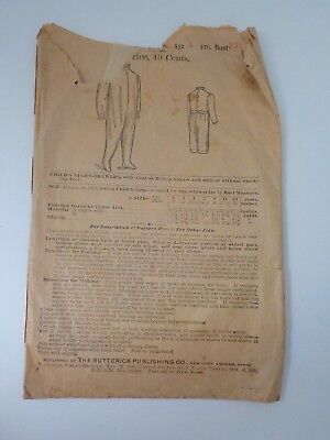 1898 Antique Pattern Child's Night-Drawers Butterick