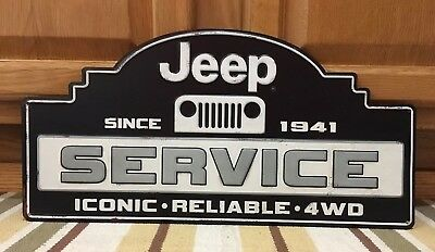 Jeep Service Sign 4WD Off Road Lift Kit Part Oil Gas Garage Metal Vintage Style