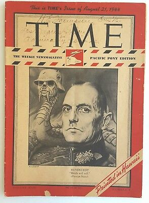 TIME MAGAZINE AUG. 21, 1944  RUNDSTEDT, Pacific Pony Edition WW2