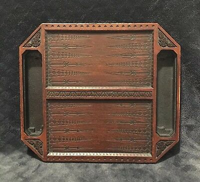 Antique Vintage Hand Carved Mahogany Wood Backgammon Game Board