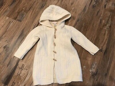Janie And Jack Girls 12 Month Wool And Angora Cream Cable Knit Long Sweater