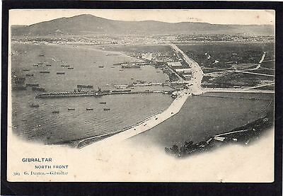 GIBRALTAR - North Front.  Pier / Boats. Dautez early UDB postcard.