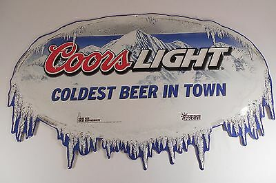 Coors Light Embossed Beer Sign Coldest Beer In Town 2011