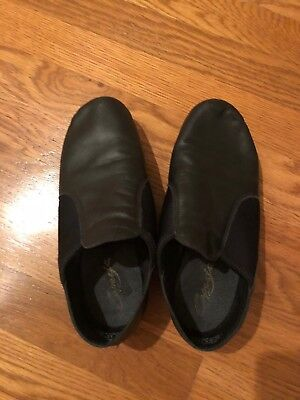 Capezio Black Leather E-Series Jazz Slip On Dance Shoes Size 10M