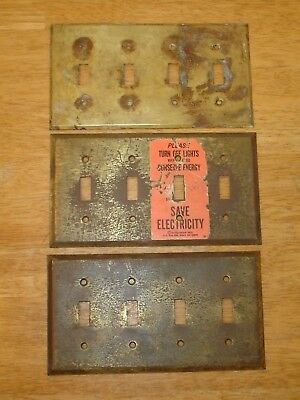 Antique / Vintage Lot (3) Solid Brass 4 Gang Switch Plate Covers - Old Hardware